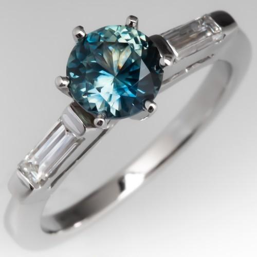 Montana Sapphire & Baguette Diamond Engagement Ring Platinum