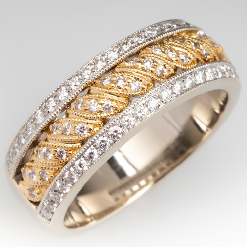 Diamond Band Ring Detailed 18K Two Tone Gold