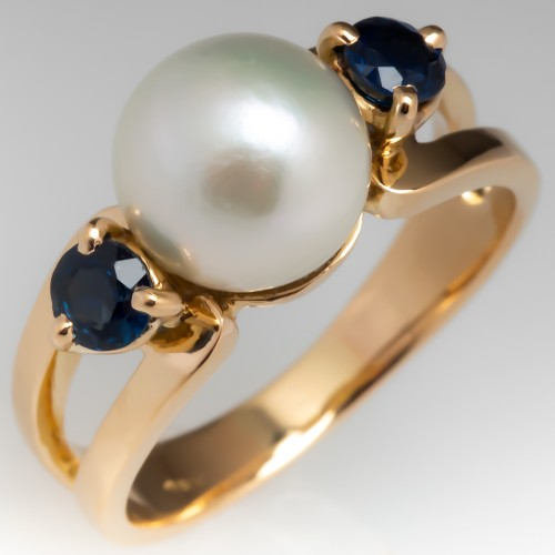 Pearl & Sapphire Estate Ring 18K Yellow Gold