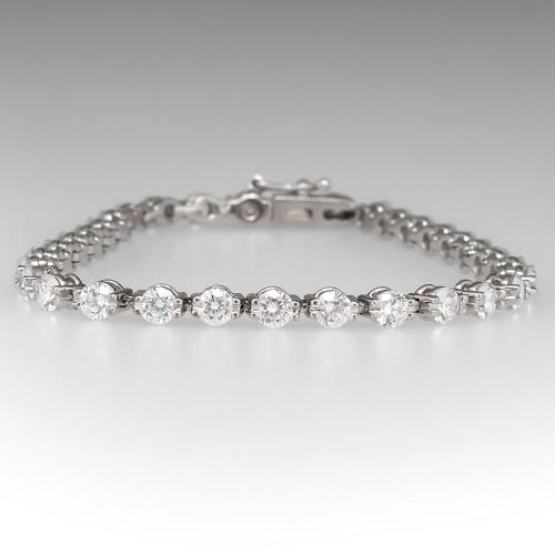 Stunning 4.7 Total Carat Diamond Tennis Bracelet Platinum