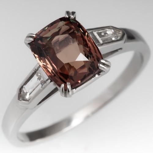 Natural 2 Carat Color Change Alexandrite Ring Platinum w/Baguettes