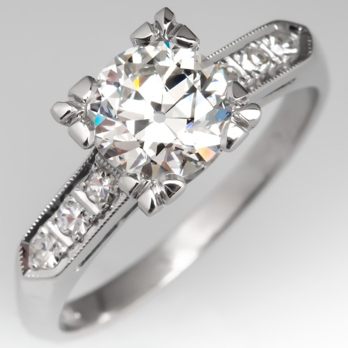 GIA 1 Carat G/SI1 Transitional Cut Diamond Vintage Engagement Ring