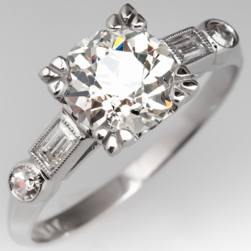1930's Perfect Antique Engagement Ring 1.3 Carat Old Euro Diamond