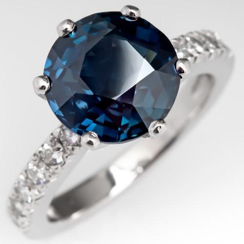 4 Carat Dark Green-Blue Sapphire Engagement Ring Platinum 6-Prong
