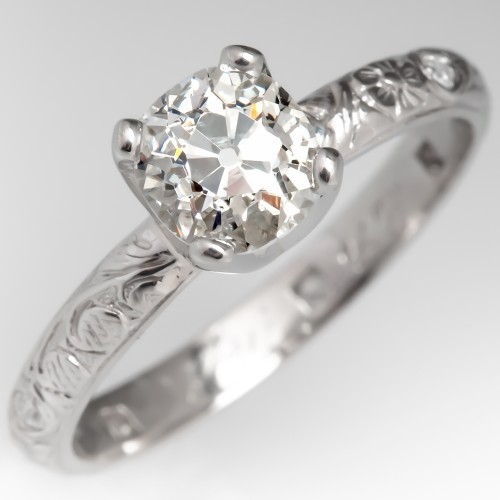 Old Mine Cut Diamond Solitaire Engagement Ring 1925 Engraved Band