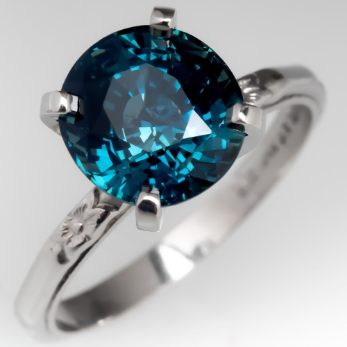 No Heat 3 Carat Blue Green Sapphire Solitaire Ring Platinum Engraved