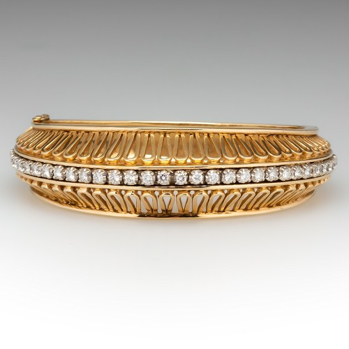 Large Diamond Openwork Hinged Bracelet 14K Gold 6.5-Inch