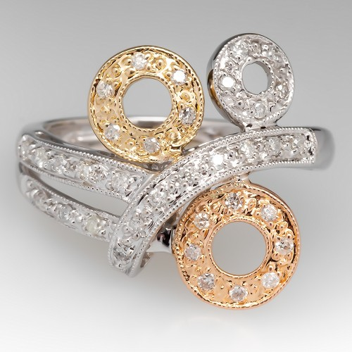 Contemporary Tri-Color Gold Diamond Ring 14K