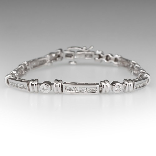 1.4 Total Carat Diamond Tennis Bracelet 14K White Gold