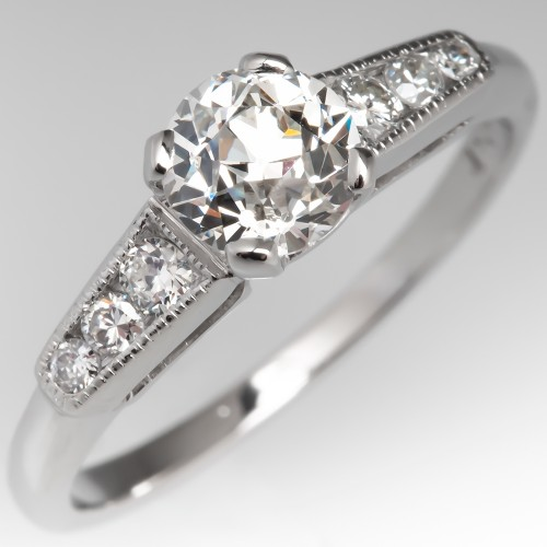 .85 H/SI1 Old Euro Diamond Vintage Engagement Ring