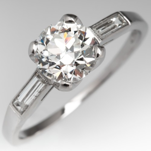 Vintage Transitional Cut Diamond Engagement Ring w/ Baguette Accents