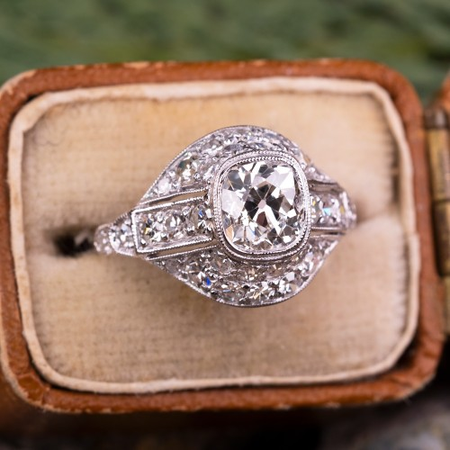 Antique Old Mine Cut Diamond Bezel Engagement Ring Platinum