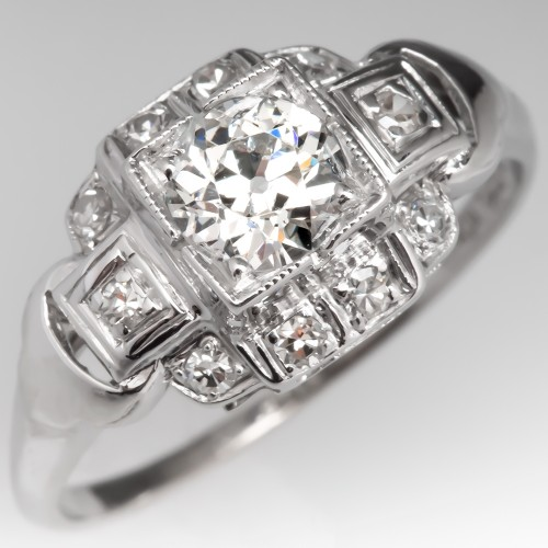 Lovely Antique Engagement Ring 1/2 Carat H/SI1 Old Euro Diamond