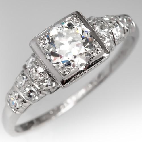 Antique Engagement Ring F/VS1 Old Euro Diamond Squared Head Platinum