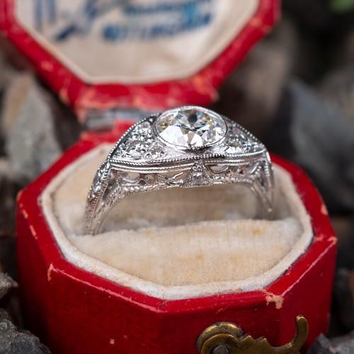 GIA H/SI1 Transitional Cut Diamond Engagement Ring Detailed Platinum