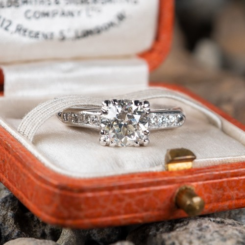 .90 J/VS1 Transitional Cut Diamond Vintage Engagement Ring