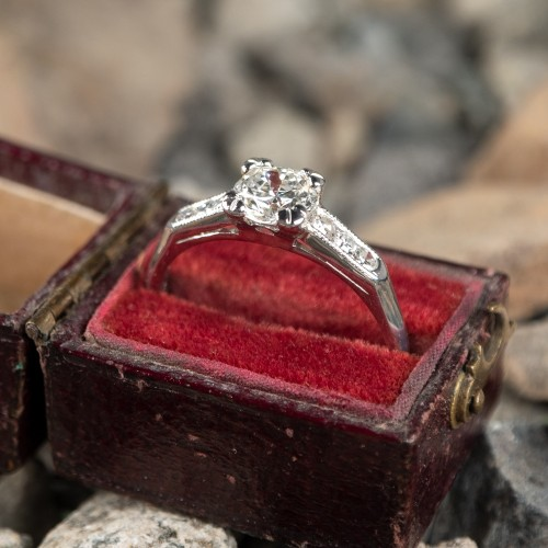 Transitional Cut Diamond Vintage Engagement Ring Platinum