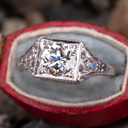 Antique Filigree Old Euro Diamond Engagement Ring Platinum