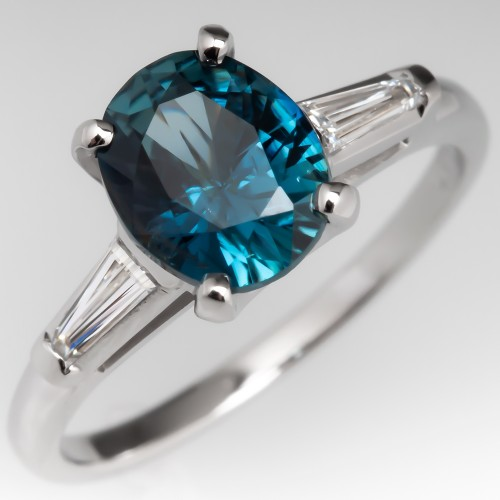 No Heat Blue Green Sapphire Engagement Ring Vintage Platinum Mount