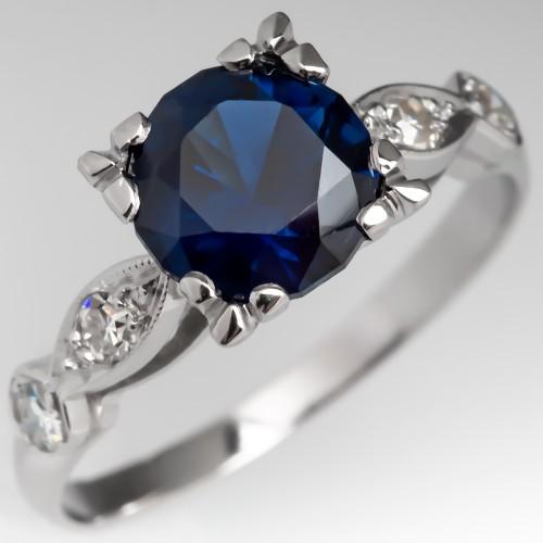 No Heat Dark Blue Sapphire Engagement Ring Vintage Platinum