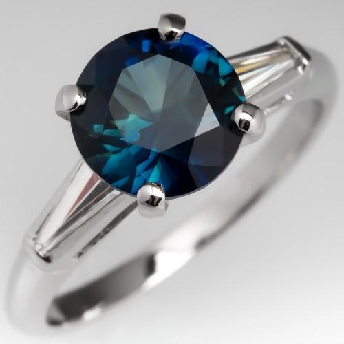 2.5 Carat No Heat Deep Teal Sapphire Engagement Ring
