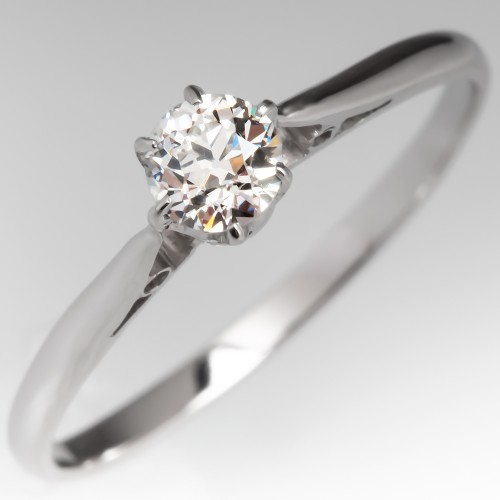 Old Euro Diamond Solitaire Engagement Ring Platinum Crown