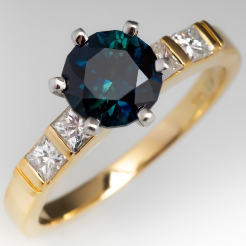 18K Yellow Gold Deep Teal No Heat Sapphire Engagement Ring