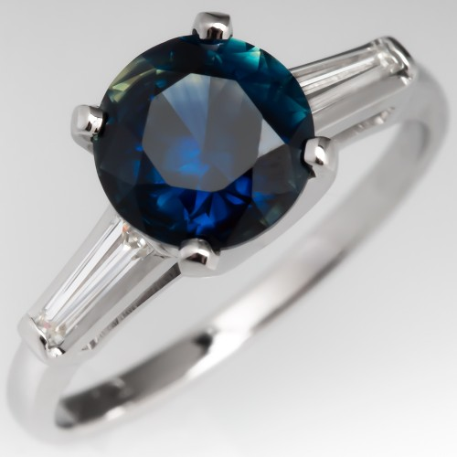 1.8CT Untreated Sapphire Engagement Ring Baguette Accents