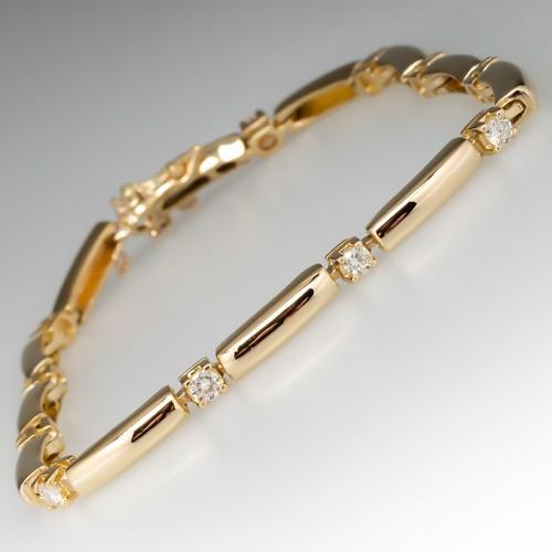14K Yellow Gold Diamond Station Link Bracelet 7 3/4 Inch