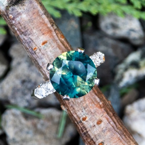 No Heat Multi-Color Sapphire Engagement Ring 4 Carat