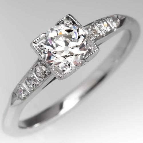 1930's Old Euro Diamond Engagement Ring 1/2 Carat G/SI1