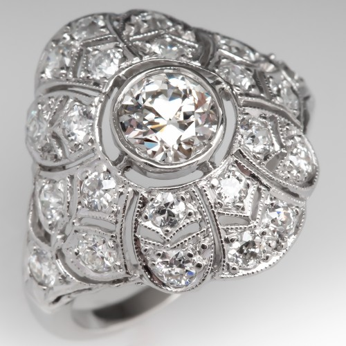 Art Deco Old European Cut Diamond Filigree Engagement Ring