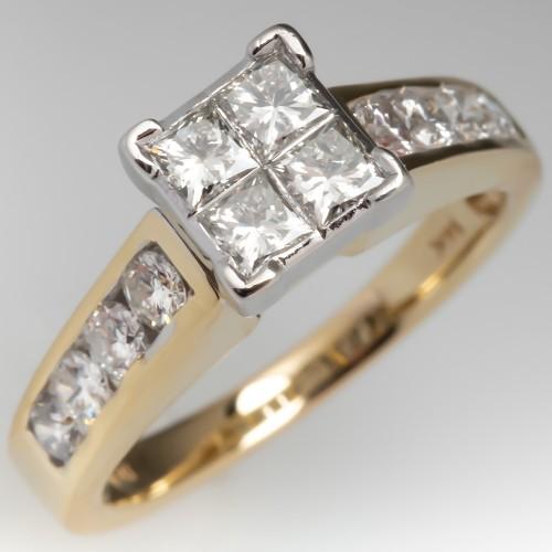 Invisible Set Princess Cut Diamond Engagement Ring 14K Gold