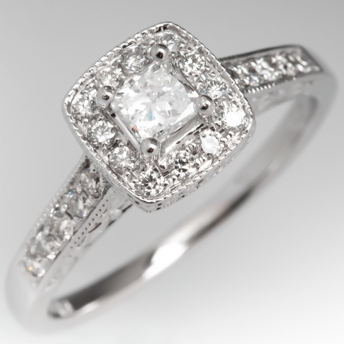 Princess Cut Diamond Halo Modern Engagement Ring 14K White Gold