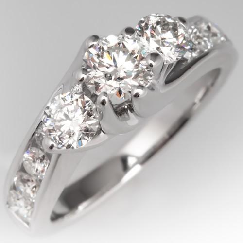 Round Brilliant Modern Three Stone Diamond Engagement Ring 14K
