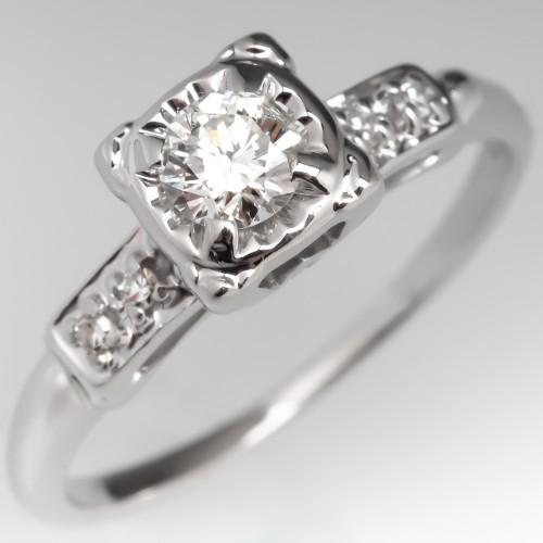 1/4 Carat Vintage Diamond Engagement Ring 14K White Gold