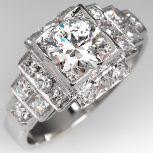 Art Deco Engagement Ring Diamond Geometric Platinum 1930's