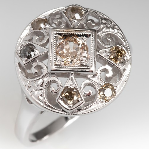 Openwork Vintage Old Champagne Diamond Ring 14K Low Profile