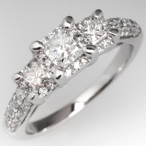 Three Stone Princess Cut Diamond Halo Engagement Ring 14K
