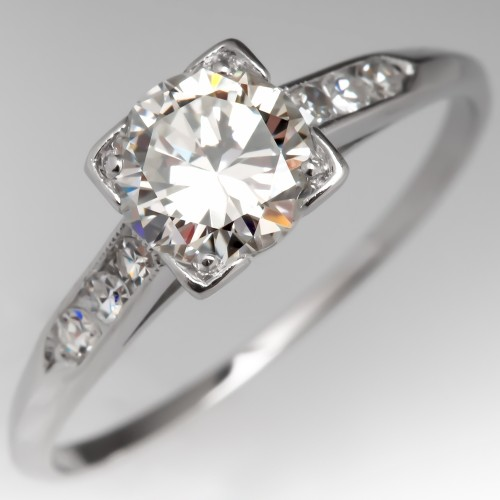 Perfect Vintage Engagement Ring Platinum Round Brilliant w/ Accents
