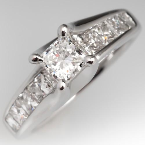 Princess Cut Diamond Modern Engagement Ring 14K White Gold