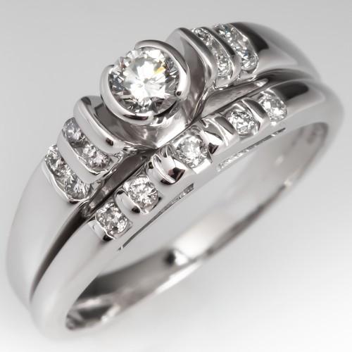 Diamond Engagement Ring Fused Wedding Set 14K White Gold