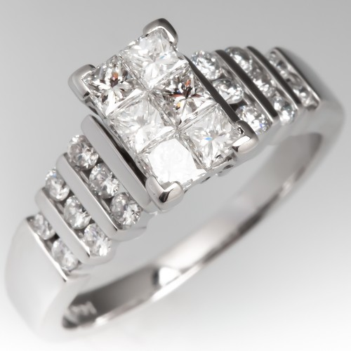 Invisible Set Cluster Diamond Engagement Ring 14K White Gold
