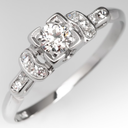 Lovely Vintage Engagement Ring Old Euro Diamond Platinum Detailed