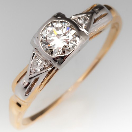 14K Two Tone Detailed Vintage Diamond Engagement Ring