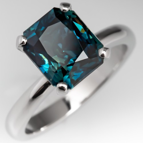 4 Carat Deep Teal Sapphire Solitaire Engagement Ring Platinum