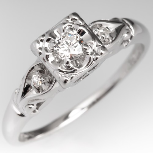 Vintage Petite Diamond Engagement Ring Illusion Squared Head 14K