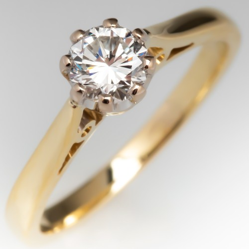 Round Brilliant Diamond Crown Solitaire Engagement Ring 18K Gold