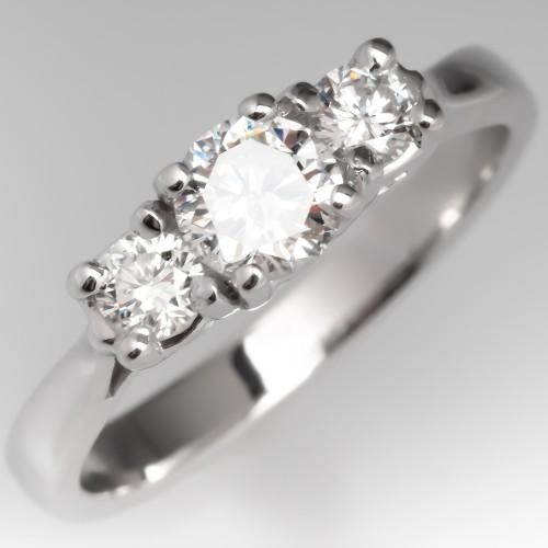Modern Three Stone Round Brilliant Diamond Engagement Ring 14K