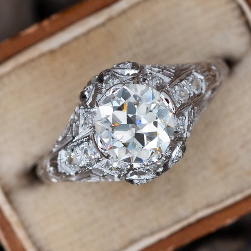 Filigree Art Deco Engagement Ring 1 Carat Transitional Cut Diamond